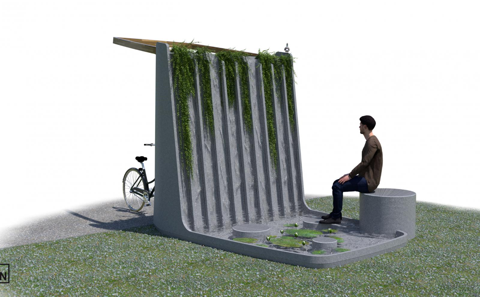 TEN KAMP C - ONTWERP STEPPING STONE WATERFALL